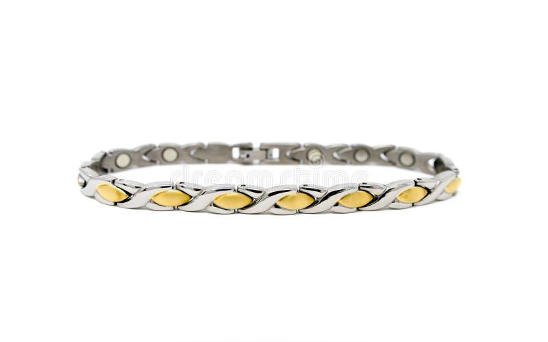 Bracelete magnético de aço inoxidável da prata XOXO do ouro foto de stock royalty free