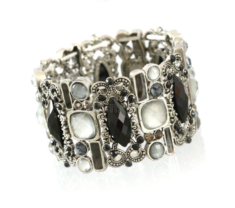Bracelete preto de gemstone fotografia de stock royalty free