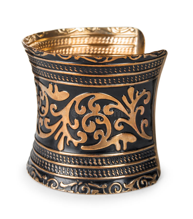 Bracelete velho do vintage feito do cobre com um teste padrão imagens de stock