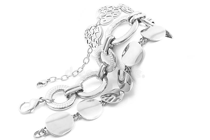 Braceletes de aço imagem de stock royalty free