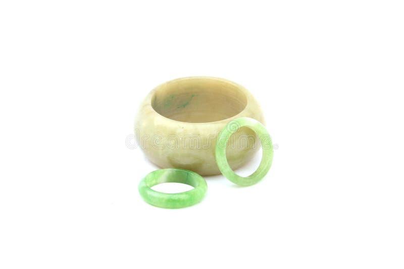 Braceletes do jade no branco isolado fotografia de stock royalty free