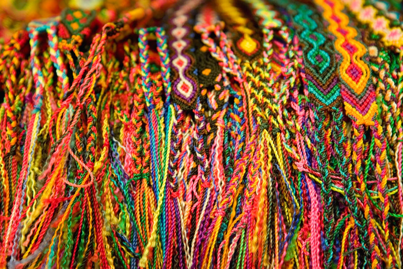 Braceletes tecidos mexicanos imagens de stock