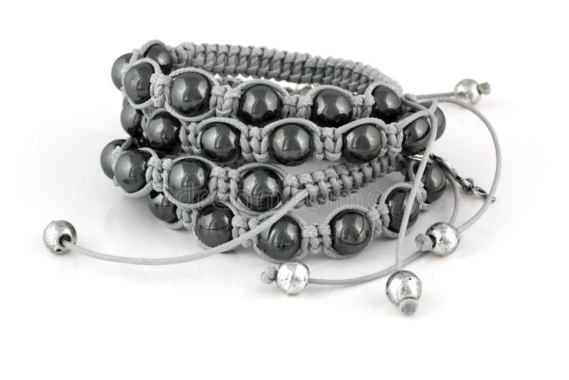 Bracelets with black pearls stock photo