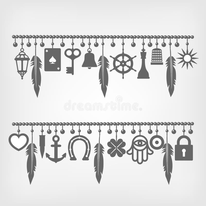 Bracelets de charme avec des symboles de la bonne chance illustration libre de droits