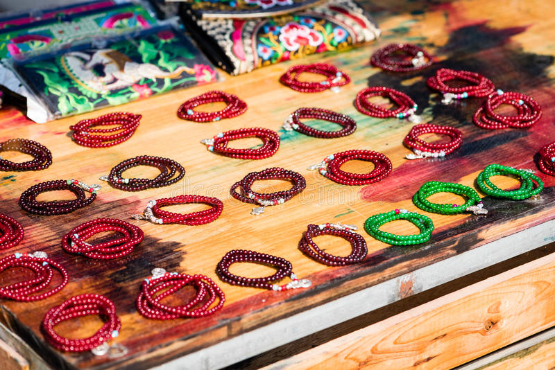 Bracelets on sale at Chinese market stock photo