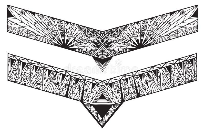 Bracelets tattoo designs. Geometrical ornate borders.  vector illustration