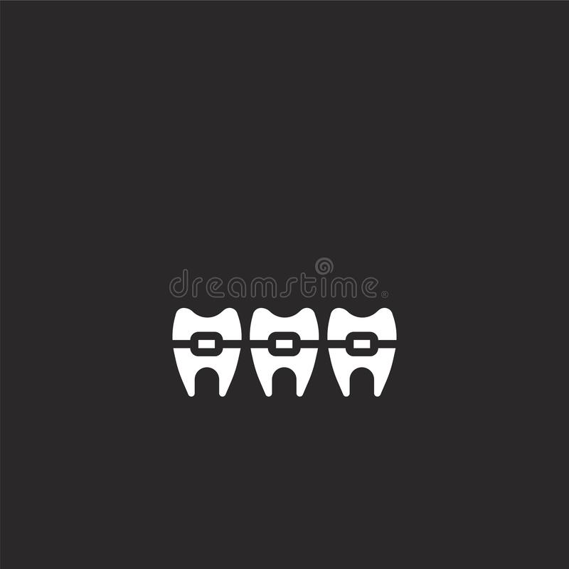 Braces icon. Filled braces icon for website design and mobile, app development. braces icon from filled dental collection isolated. On black background vector illustration