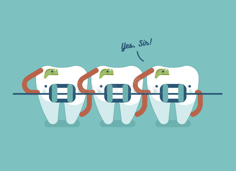 Braces teeth of dental healthcare. Soldier of dental concept vector illustration