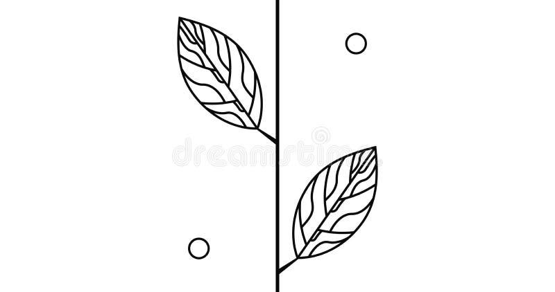 Brach med blad och den abstrakta logotypen för cirkel royaltyfri illustrationer