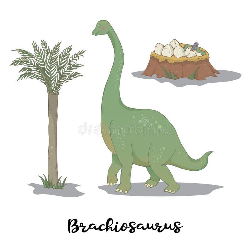 Brachiosaurus con la jerarquía del huevo aislada sobre el vector blanco stock de ilustración