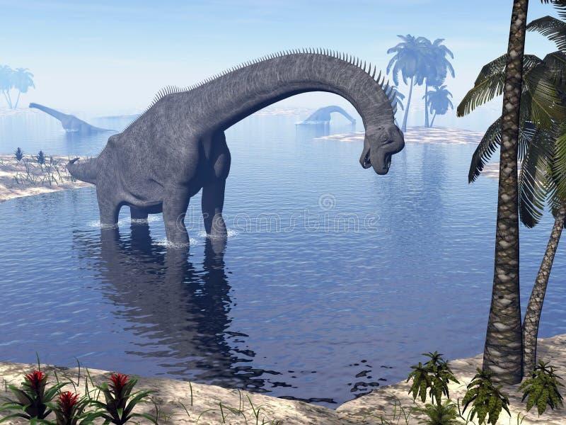 Brachiosaurus dinosaur in water - 3D render vector illustration