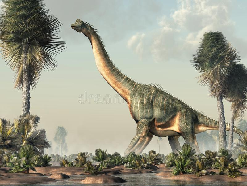 Brachiosaurus in een Moerasland royalty-vrije illustratie