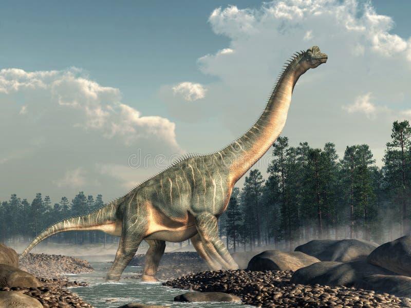 Brachiosaurus in een Stroom vector illustratie