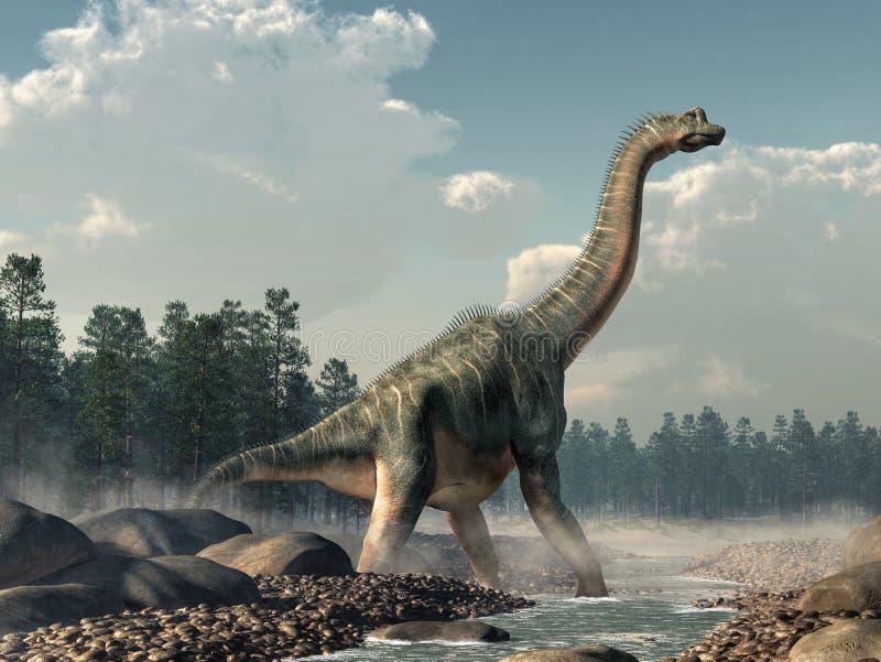 Brachiosaurus in een Stroom royalty-vrije illustratie
