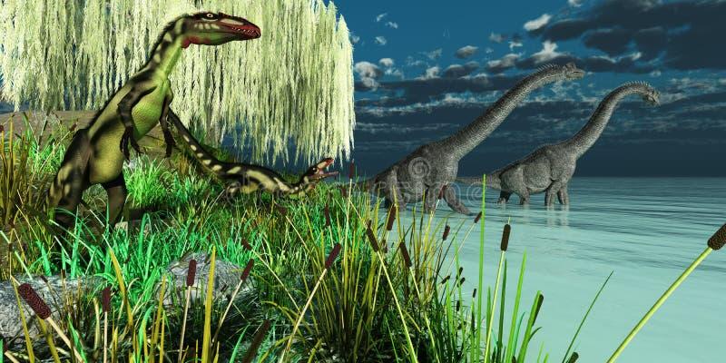 Brachiosaurus en Dinosaurussen Dilong vector illustratie