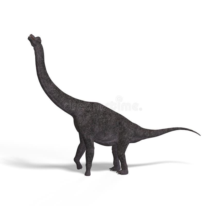 Brachiosaurus gigante do dinossauro com trajeto de grampeamento ilustração royalty free