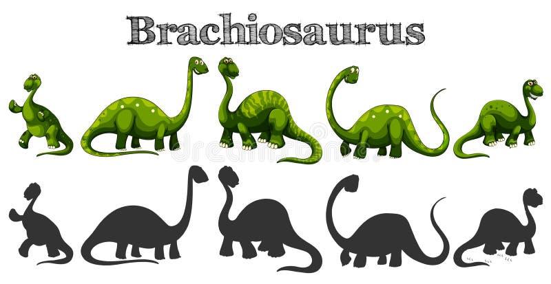 Brachiosaurus i fem olika handlingar stock illustrationer