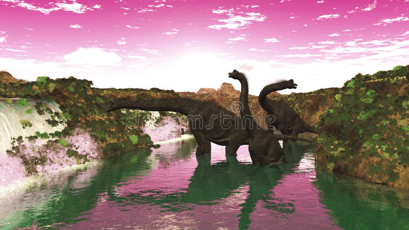 Brachiosaurus. One of the largest dinosaurs, Brachiosaurus lived in the Middle to Late Jurassic Era and used its unique advantage of a long neck to reach to the royalty free illustration