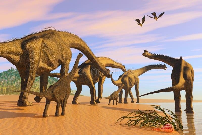 Brachiosaurus plaża royalty ilustracja