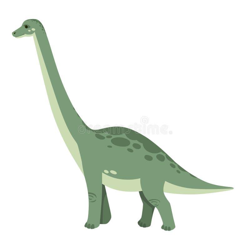 Brachiosaurus verde Dinosaurio lindo, dise?o de la historieta Ejemplo plano aislado en el fondo blanco Animal de jur?sico stock de ilustración