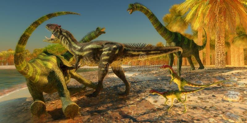 Brachiosaurusdinosaurieattack vektor illustrationer