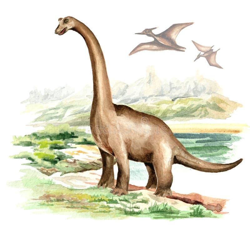 Brachiosaurusdinosaurus in voorhistorisch landschap Waterverfhand getrokken die illustratie, op witte achtergrond wordt geïsoleer vector illustratie