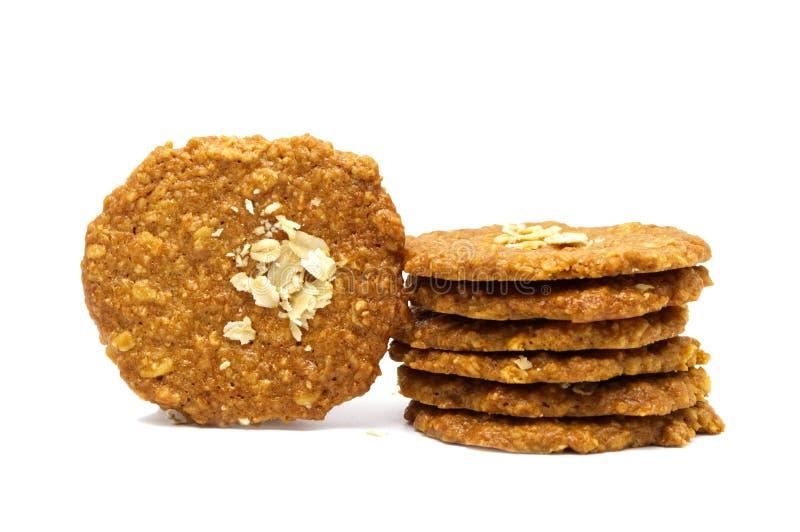 Bracht het koekjes eigengemaakte Havermeel en verdunt stijl op smaak Stapel knapperige heerlijke zoete maaltijd en nuttige koekje royalty-vrije stock foto