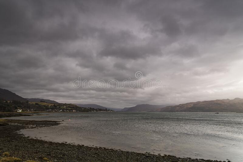 Dreich Loch Carron royalty free stock photo