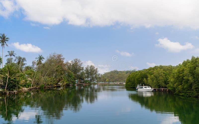 Brackish канал воды через остров стоковые изображения