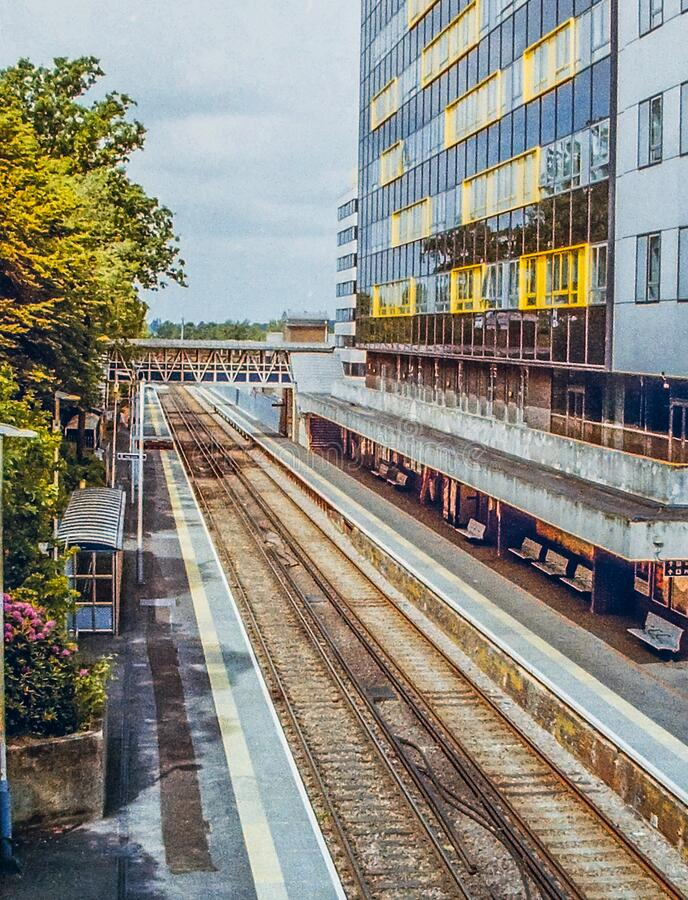 Bracknell Rail Station. Empty with no people. Captured during Covid-19 lockdown. stock photo