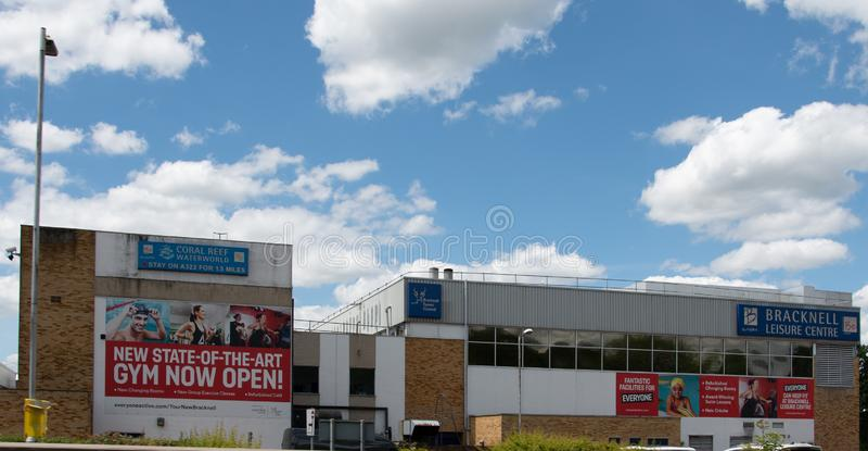 Bracknell leisure Centre. Bracknell, United Kingdom - June 22 2019:   The frontage of Brackell Sports Centre on Bagshot Road stock images