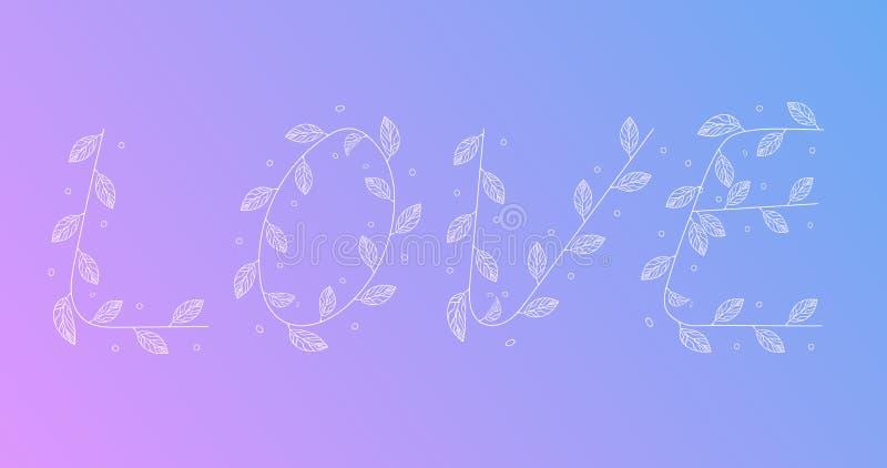 Bracnhes manuscrits de feuille de fron de mot d'amour illustration libre de droits