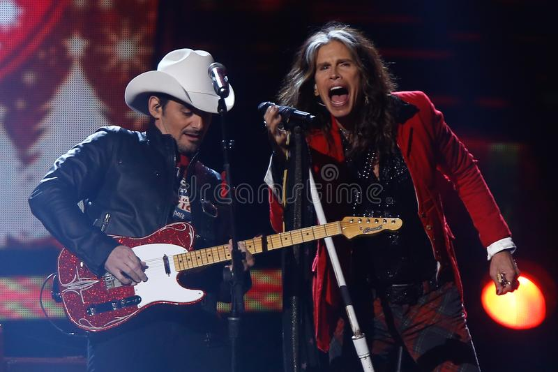 Brad Paisley, Steven Tyler stock photo