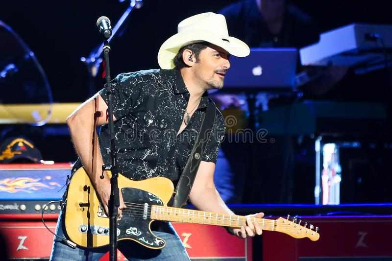 Brad Paisley. WANTAGH, NY - AUG 30: Brad Paisley performs in concert at Northwell Health at Jones Beach on August 30, 2019 in Wantagh, New York stock photo