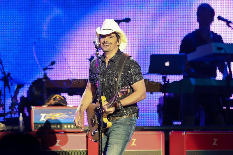 Brad Paisley. WANTAGH, NY - AUG 30: Brad Paisley performs in concert at Northwell Health at Jones Beach on August 30, 2019 in Wantagh, New York royalty free stock photo