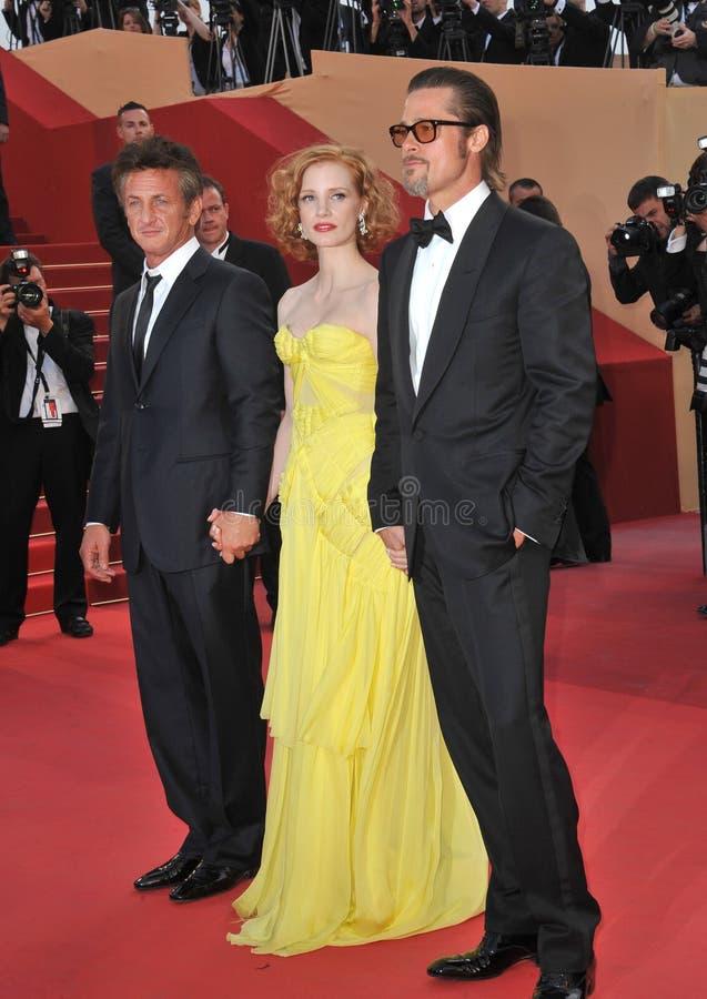 Brad Pitt,杰西卡Chastain,夏恩Penn 图库摄影