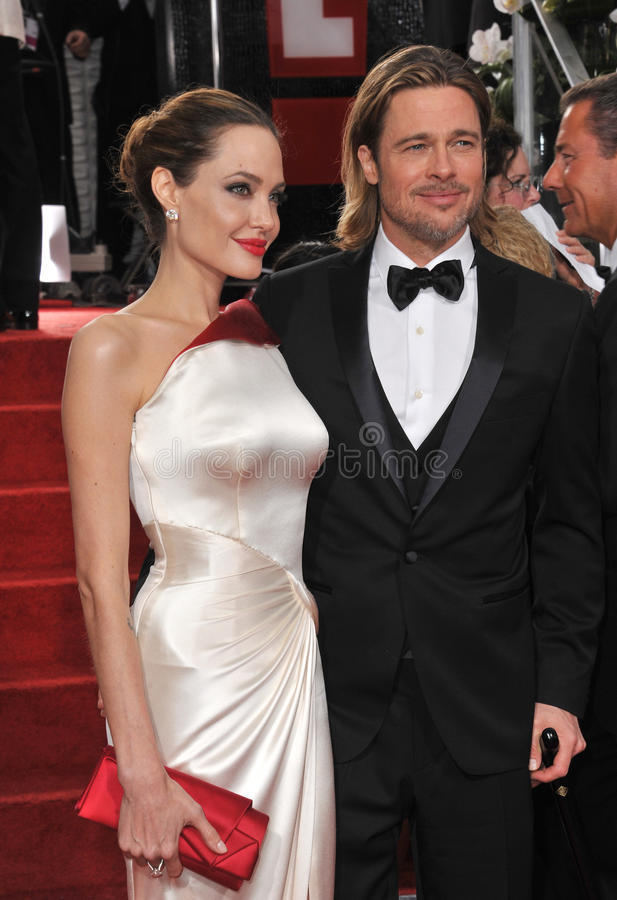 Brad Pitt, Angelina Jolie. Brad Pitt & Angelina Jolie at the 69th Golden Globe Awards at the Beverly Hilton Hotel. January 15, 2012 Beverly Hills, CA Picture royalty free stock photography
