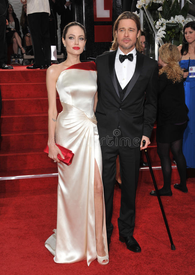 Brad Pitt, Angelina Jolie. Brad Pitt & Angelina Jolie at the 69th Golden Globe Awards at the Beverly Hilton Hotel. January 15, 2012 Beverly Hills, CA Picture royalty free stock photos