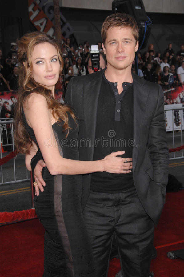 Brad Pitt, Angelina Jolie. Brad Pitt & Angelina Jolie at the North American premiere of Ocean's Thirteen at Grauman's Chinese Theatre, Hollywood. June 6, 2007 royalty free stock photos