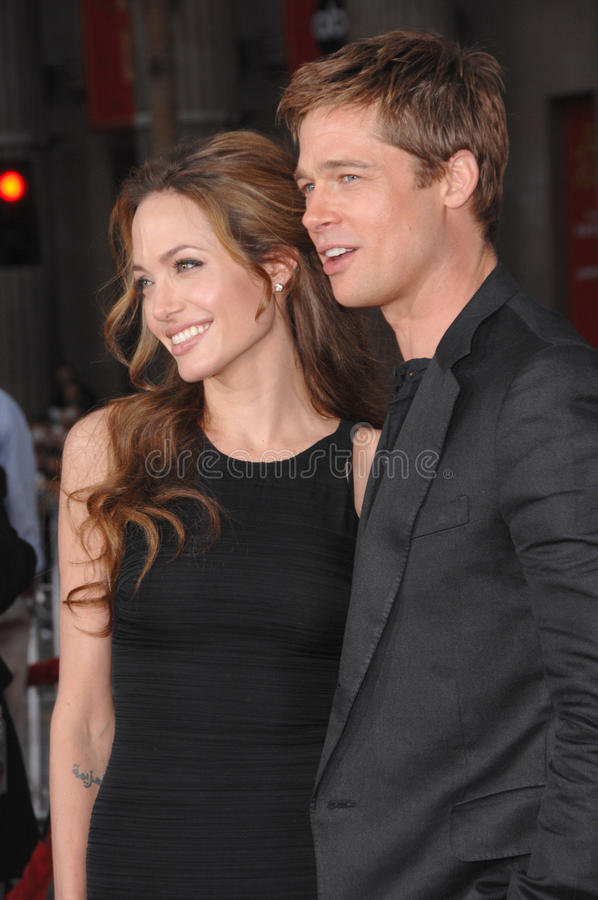 Brad Pitt, Angelina Jolie. Brad Pitt & Angelina Jolie at the North American premiere of Ocean's Thirteen at Grauman's Chinese Theatre, Hollywood. June 6, 2007 stock photo