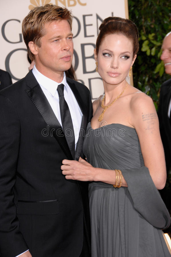 Brad Pitt, Angelina Jolie. BRAD PIT & ANGELINA JOLIE at the 64th Annual Golden Globe Awards at the Beverly Hilton Hotel. January 15, 2007 Beverly Hills, CA royalty free stock images