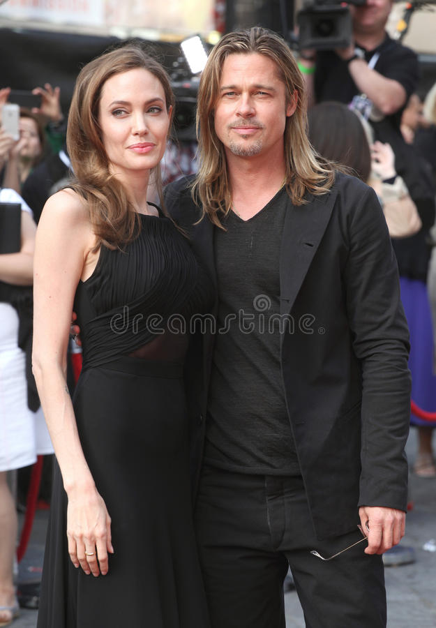 Brad Pitt and Angelina Jolie. Arriving for the World War Z World Premiere, at Empire Leicester Square, London. 02/06/2013 Picture by: Alexandra Glen / stock image
