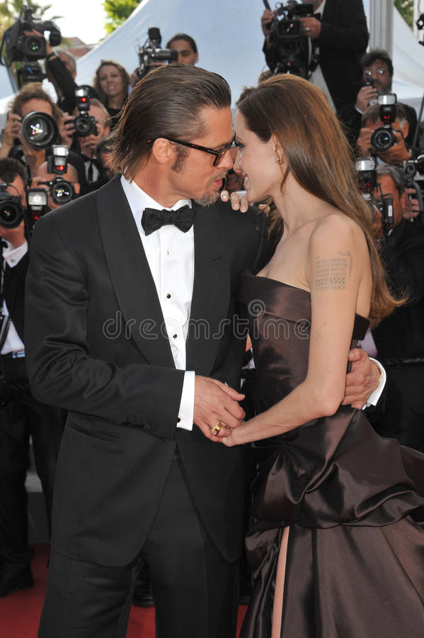 Angelina Jolie. Brad Pitt & Angelina Jolie at the gala premiere of his new movie 'The Tree of Life' in competition at the 64th Festival de Cannes. May 16, 2011 royalty free stock photography
