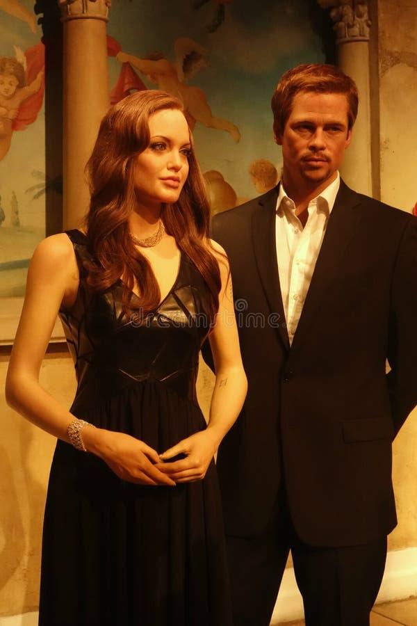 Brad Pitt and Angelina Jolie Wax Figures. Wax figures of actors and A-list couple Brad Pitt and Angelina Jolie, at Madame Tussauds, in New York stock image