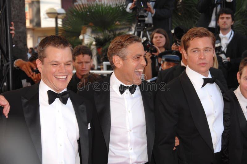 Brad Pitt George Clooney, Matt Damon royaltyfri fotografi