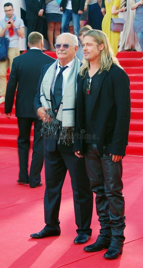 Brad Pitt i Nikita Mikhalkov zdjęcie royalty free