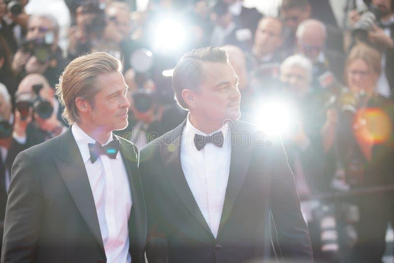 Brad Pitt & Leonardo DiCaprio arkivfoto