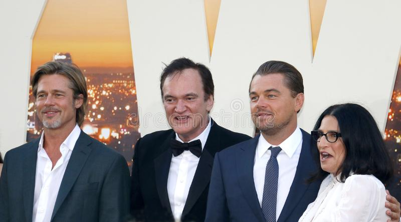 Brad Pitt, Leonardo DiCaprio and Quentin Tarantino. At the Los Angeles premiere of `Once Upon a Time In Hollywood` held at the TCL Chinese Theatre IMAX in royalty free stock photography