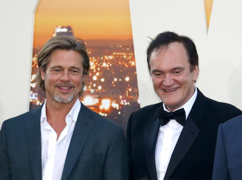 Brad Pitt and Quentin Tarantino. At the Los Angeles premiere of `Once Upon a Time In Hollywood` held at the TCL Chinese Theatre IMAX in Hollywood, USA on July stock image