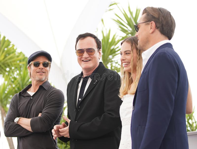 Brad Pitt Quentin Tarantino, Margot Robbie fotografering för bildbyråer